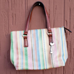 Fossil Leather multi colored vertical strips purse